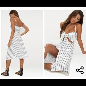 bd6d21ec3764 Dresses - White Pinstripe Tie front Strappy Swing Dress
